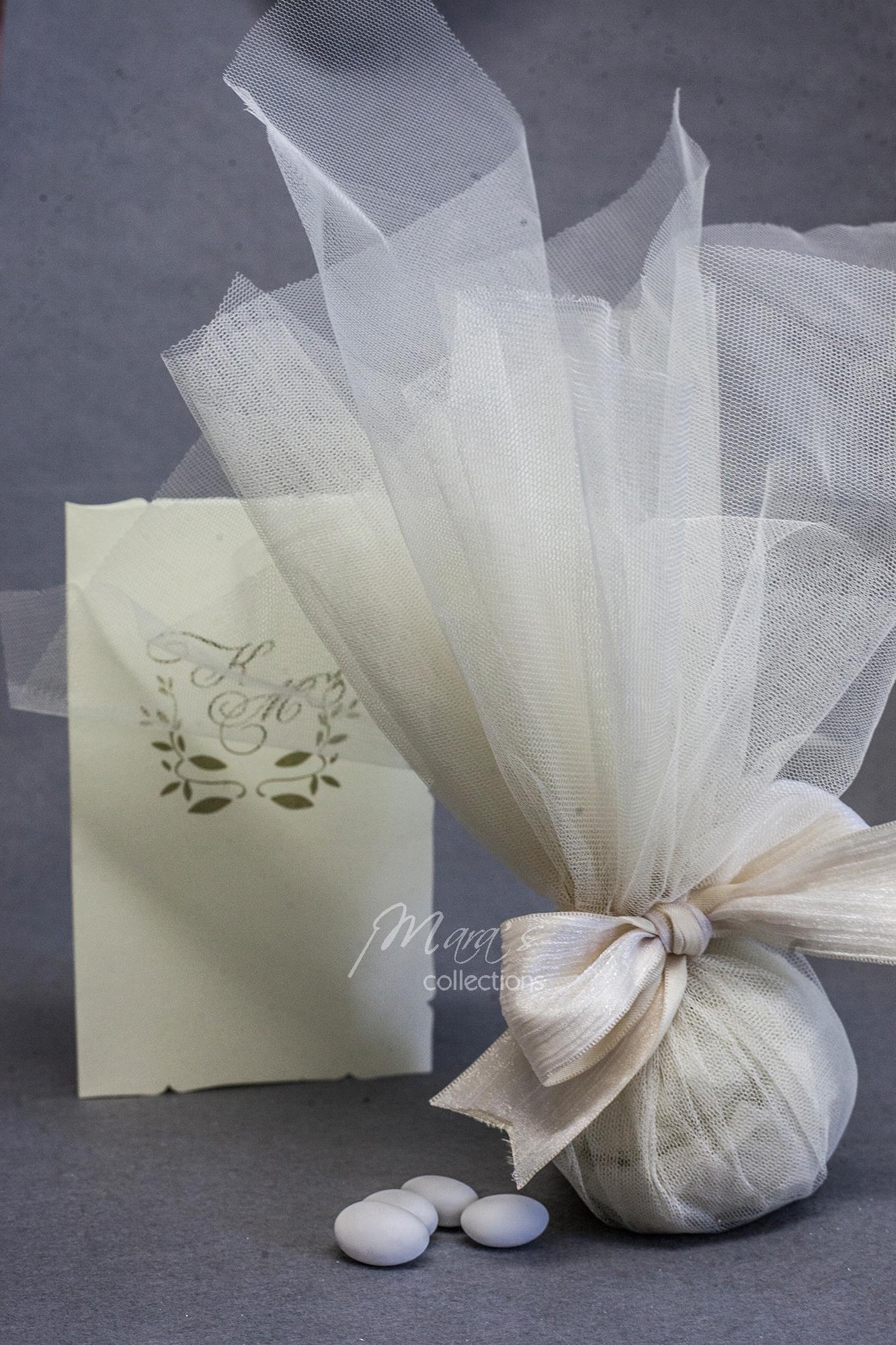 722229d03c2 Μπομπονιέρα γάμου τούλι εκρού και κορδέλα μπέζ